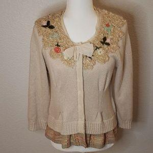 Anthropologie Field Flower Sweater Cardigan